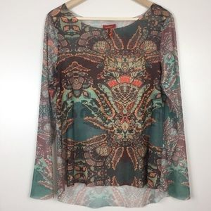 Sundance raw hem long sleeve printed top L